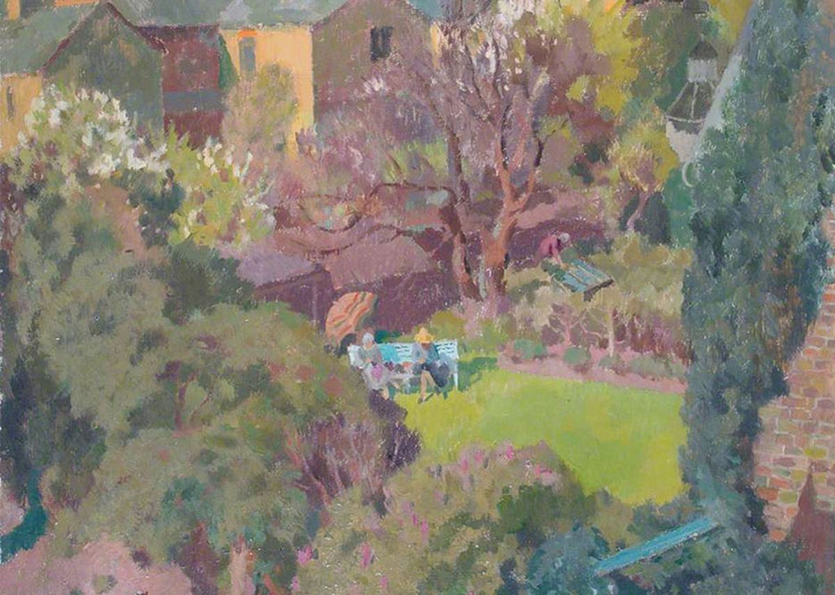 in-the-garden-henry-hoyland-c-1930-two-women-overlooked-from-the-neighbouring-property
