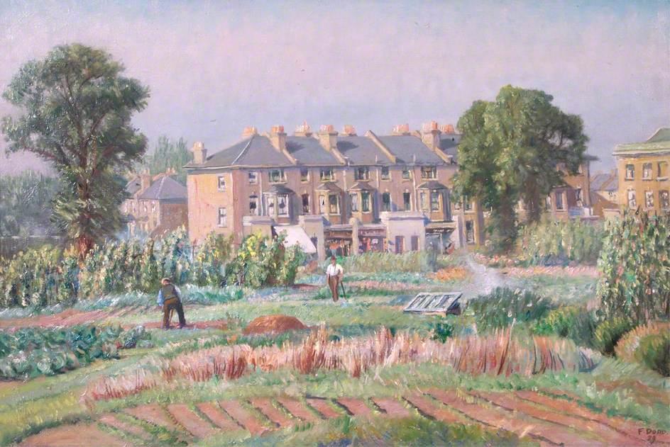 Dodd, Francis, 1874-1949; Gardens at Hammersmith Allotments