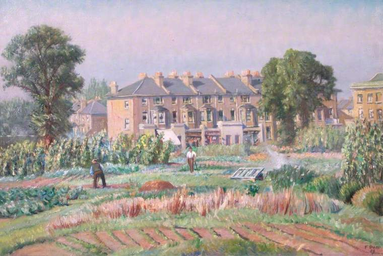 Dodd, Francis, 1874-1949; Gardens at Hammersmith Allotments